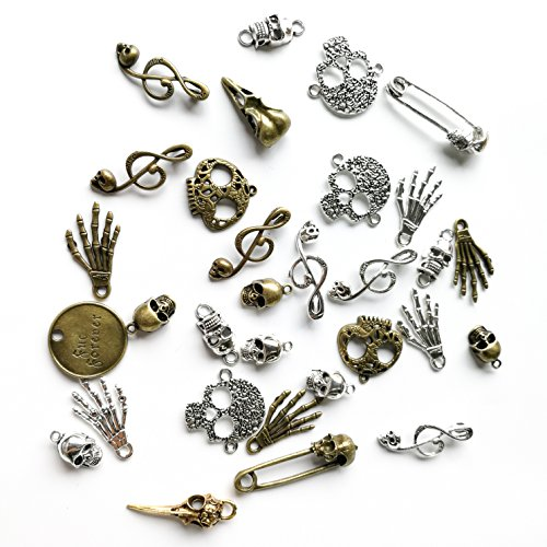 Sumje 100 Gram Halloween Steampunk Charm Alloy Skeleton Pendant Craft for DIY Bracelet Necklace Jewelry Making Accessaries (Skull Style) -