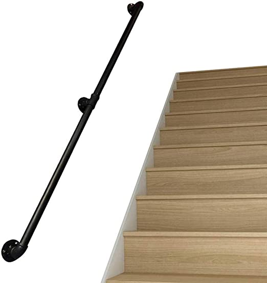 MYPNB Barandillas Barandilla de la Escalera barandilla pasamanos, escaleras Negro Pipe Antideslizante Barandilla con 2 Montaje en Pared Admite, Esquina Redonda, Negro rústico (Size : 330cm): Amazon.es: Hogar