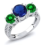 3.35 Ct Blue Simulated Sapphire Green Simulated Emerald 925 Sterling Silver 3-Stone Ring