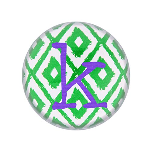 Cathys Table Decoration Concepts (Cathy's Concepts Personalized Ikat Domed Glass Paperweight, Letter K, Purple/Green/White)