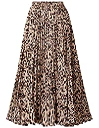 Womens Chic Elastic High Waisted A Line Leopard Print Pleated Shirring Midi-Long Skirt