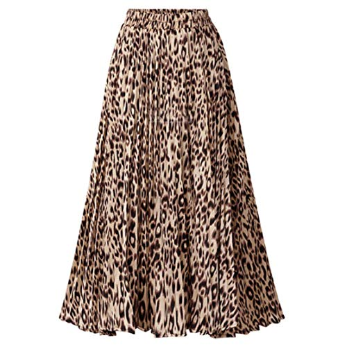CHARTOU Womens Chic Elastic High Waisted A Line Leopard Print Pleated Shirring Midi-Long Skirt (Yellow, Medium)