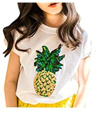 P&E Girls Pineapple Printed Crewneck Short Sleeve Top Tee T-Shirts