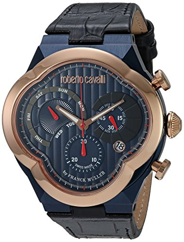 Roberto Cavalli by Franck Muller (PU5E5) Men's 'CLOVER' Quartz Stainless Steel and Leather Casual Watch, Color:Black (Model: RV1G028L0076)