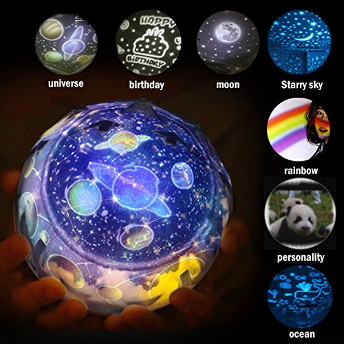 (Night Light Projector Projection Lamp in Living Room Bedroom for Kids Children Nursery-universe-birthday-moon-starry sky-rainbow -ocean CustomCute Panda-050)