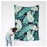 Banana Leaf Wall Tapestry, Palm Leaf Wall Hangings Art Dorm Shawl Beach Towel Throw Tapestry Decor Bedspread Bedroom Living Kids Girls Boys Room Dorm Accessories 78x57inchs