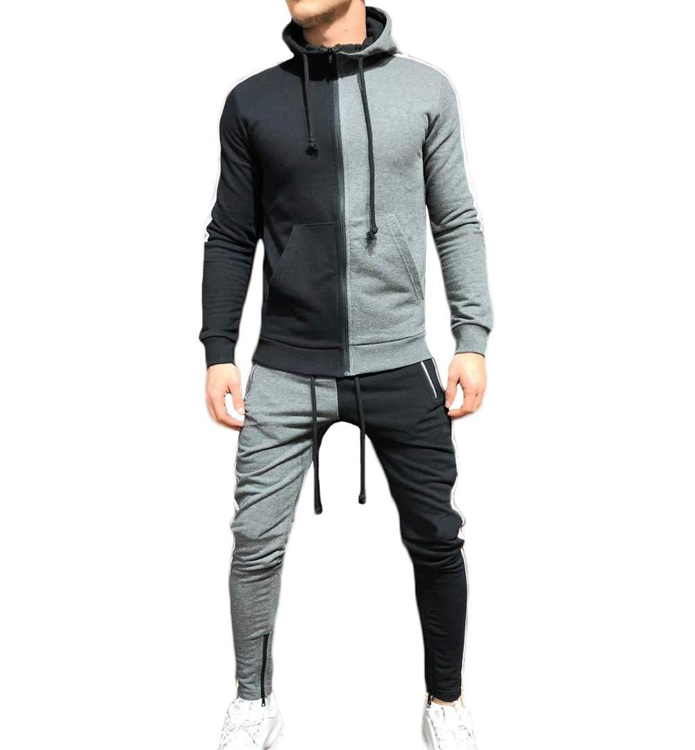 Men's Tracksuit Set Camouflage Sweatshirt Jogger Sweatpants Solid Patchwork Warm Sports Suit (Patchwork-Grey, XL) by lisenraIn