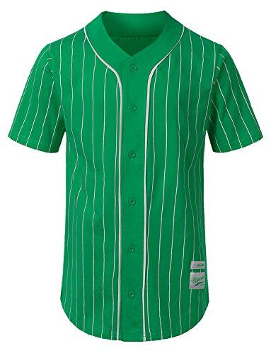 Baseball Pinstripe Jersey - URBANCREWS Mens Hipster Hip Hop Striped Baseball Jersey Shirt Green, M