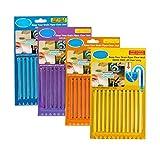Sani Sticks 4 paquetes (48 piezas) Mantiene drenes y tuberías claras y olor como se ve en la herramienta de limpieza de TV Tub descontaminación cabello limpio