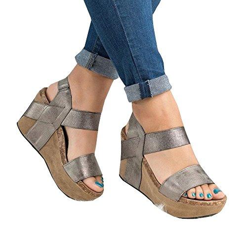 Cork Platform Wedges - Ashuai Cork Sole Thong Wedge Sandals Metallic Faux Leather Heel Sandal (7.5 B(M) US - EU Size 38, Y-Gray)