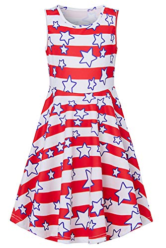 BFUSTYLE Fourth of July Dress for Girls, Active Primary School Girls Swing Knee-Length Patriotic Dresses Sleeveless Cute Red White Stripes Stars Dress for Holiday Trip Hawaii Size 13