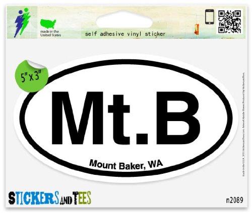 Baker Sticker - Mt B Mount Baker Washington Oval Car Sticker Indoor Outdoor 5