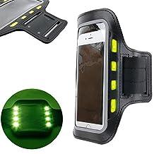 DURAGADGET brassard de sport avec LED pour Smartphone LG G6, Asus Zenfone Live (ZB501KL) et Blackberry Mercury DTEK70 – néoprène résistant à l'humidité – sangle velcro réglable