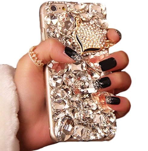 best service 57aa0 fd583 iPhone 5, 5S, SE Case, WwWSuppliers Luxury Fancy Bling Fox Crystal  Rhinestone Large Diamond Case For Apple iPhone 5 5S SE Fancy Hard Cover  Model # AD ...