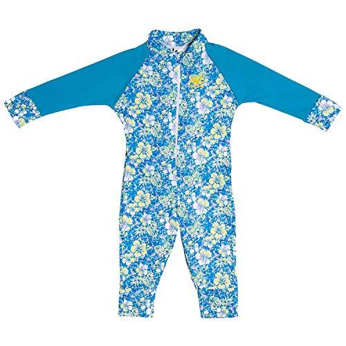 Nozone Baby Girl Sun Romper - Sun Protective Bodysuit in Aloha/Turq, 18-24 Months