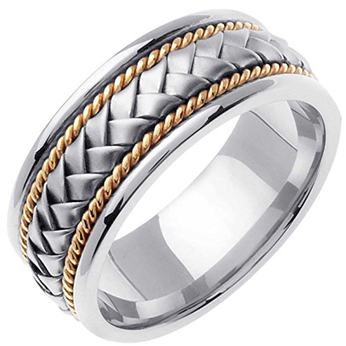 Two Tone Platinum and 18K Yellow Gold Braided Basket Weave Men's Wedding Band (8.5mm) Size-15c2