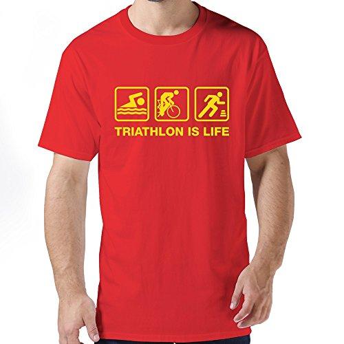 Male Vintage Screw Neck Triathlon Life 1 T-shirt Size XL Color Red
