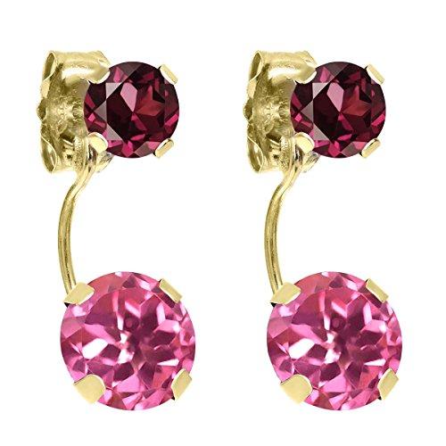 Topaz Pink & Garnet Earrings (2.74 Ct Round Pink Mystic Topaz Red Rhodolite Garnet 14K Yellow Gold Earrings)