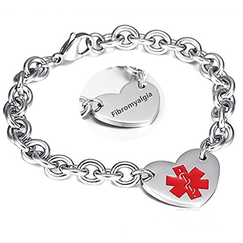 LF 316L Stainless Steel Fibromyalgia Engraved Medical Alert Heart Charm Link Bracelet Rolo Chain Medic ID Bracelets Monitoring Awareness for Womens for Outdoor Emergency]()