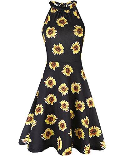 (OUGES Women's Halter Neck Floral Summer Casual Sundress(Floral-08,M))