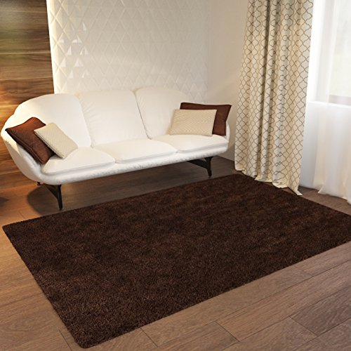 Home Way Brown Plain Solid Shag Area Rug Solid Color [ 3'3'' x 5'3'' ] Plain Modern Shaggy Area Rug Living Kids Room Bedroom Playroom Baby Room Bathroom Rug Easy Clean Soft Plush Carpet