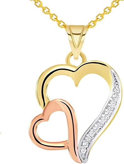 14K White Gold Open Heart Cubic Zirconia CZ Studded Charm Pendant For Necklace or Chain
