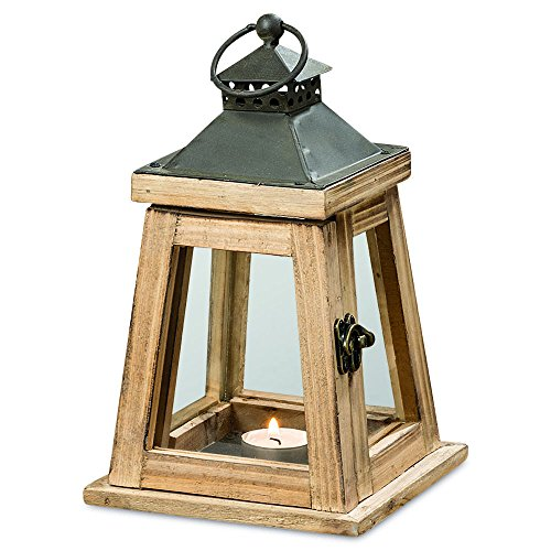 Whole House Worlds The Architectural Tribeca Trap Candle Lantern, For Tea Light And Votive Candles, Distressed Sustainable Wood and Metal, Brass Swing Latch, Gray Galvanized Roof, 9 ¾ Inches Tall, By - 2 Piece Pierced Lighting