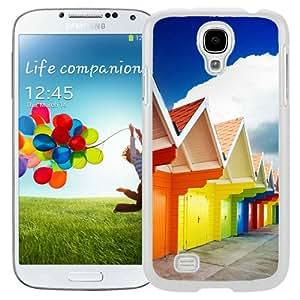 Galaxy S4 Case,Multicolored Houses Lockscreen White Samsung Galaxy S4 Screen Phone Case Custom and Cool Design