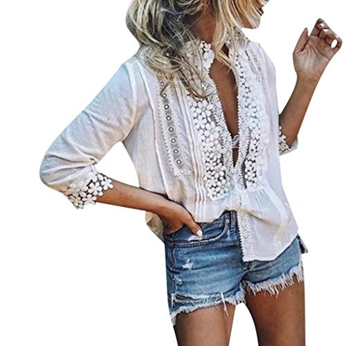 QIQIU Womens Sexy V-Neck Solid Lace Fashion Half-Sleeve Tops Shirts Blouses Four Colors T-Shirt White