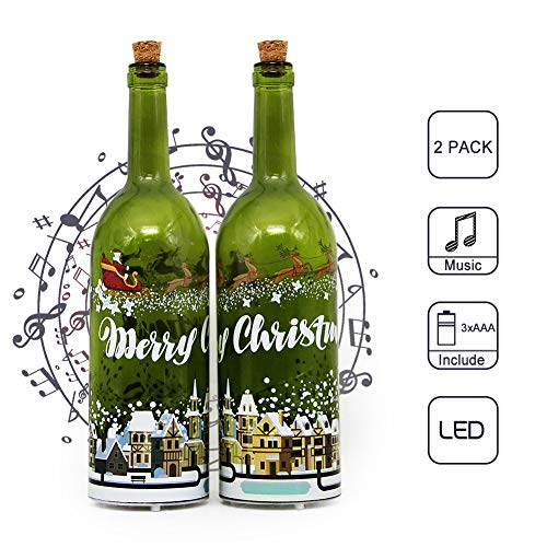 MJ PREMIER Christmas Decoration Wine Bottle Cork Lights Music Glass Bottle with Cork & LED String Lights Battery Operated Decor Table Lights for Christmas Holiday Party Home Décor(Green, 2 Pack) ()