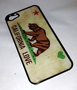 Vintage California Love State Flag Case For HTC One M7 Cover BLACK Plastic Case CA LA Heart Star