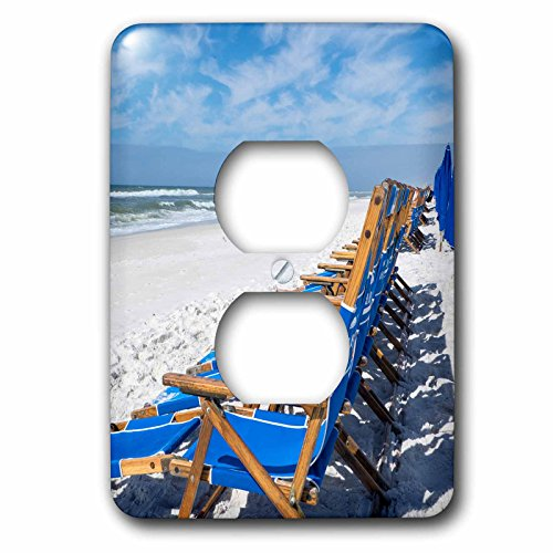3dRose Danita Delimont - Beaches - Lounge chairs on Alys Beach, Seacrest, Florida, USA - Light Switch Covers - 2 plug outlet cover (Seacrest 2 Light)