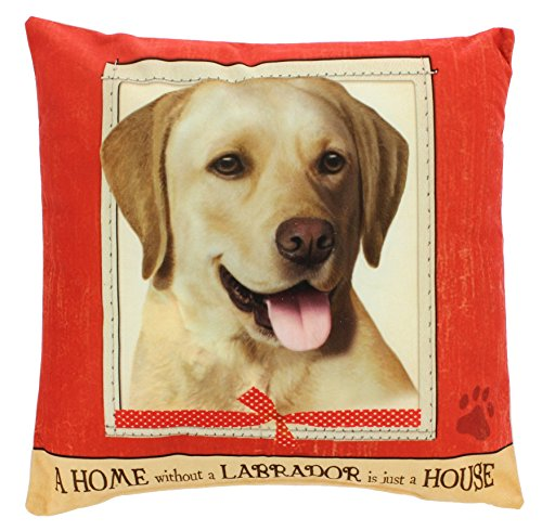 """E&S Imports 15"""" Dog Breed Pillow """"A Home Without a..."""" (Yellow Lab)"""