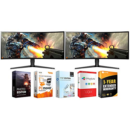 LG 34GK950F-B 34-inch UltraWide QHD Curved LED FreeSync Gaming Monitor (2-Pack) Bundle with Tech Smart USA Elite Suite 18 Standard Editing Software Bundle and 1 Year Extended Warranty