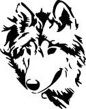 "Wolf Wildlife Vinyl Decal Sticker Car Window Bumper Decor- 6"" Tall Matte White Color"