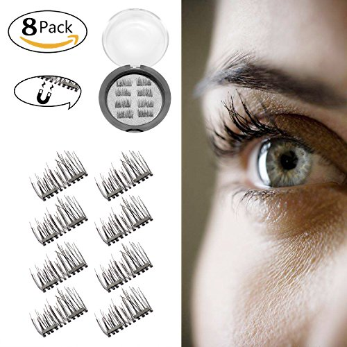 c567092ffad 3D Magnetic Eyelashes Reusable False Eyelashes for Natural Look (2 Pair 8  Pieces), No Glue Required Fake Lashes-Perfect for Deep Set Eyes & Round Eyes