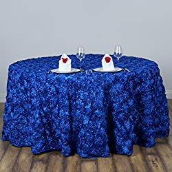 "BalsaCircle 120"" Royal Blue Satin Raised Rosettes Round Tablecloth Wedding Party Dining Room Table Linens"