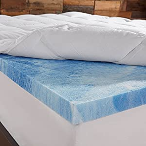 sleep innovations 4 inch dual layer mattress topper gel memory foam and plush. Black Bedroom Furniture Sets. Home Design Ideas