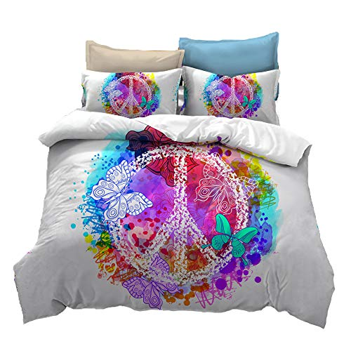 Suncloris,Hippie Psychedelic Black Rainbow Peace Sign Bedding,Boys Girls Watercolor Colorful Art Duvet Cover Set.Included:1 Duvet Cover,1 Pillowcase(no Comforter Inside) (Twin)