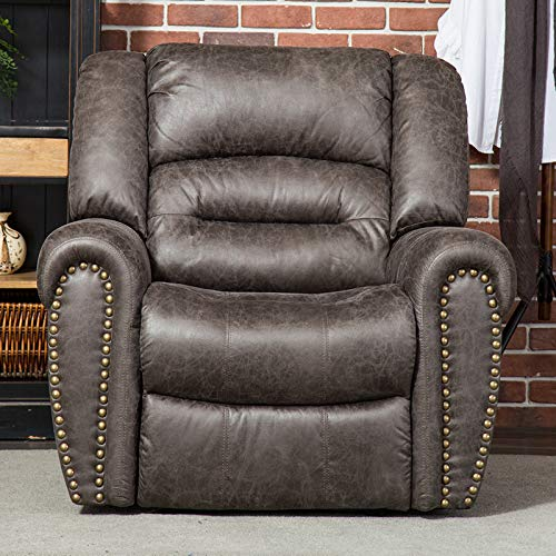 CANMOV Breathable Bonded Leather Recliner Chair, Classic and Traditional 1 Seat Sofa Manual Recliner Chair with Overstuffed Arms and Back, Smoke Gray