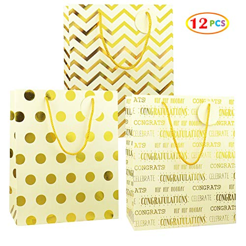 Gold Metallic Foil Gift Bags, Fzopo 12 Pcs Premium Quality Kraft Style Prints Paper Bags for Birthday, Party, Kids, Baby Shower, Wedding, Graduation, Holiday, and All Occasion (Gift Discount Christmas Bags)