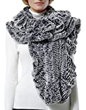 Nice Glory Women's Rex Rabbit Fur Ruffle Trim Wide Cape Scarf Grey Snow-top