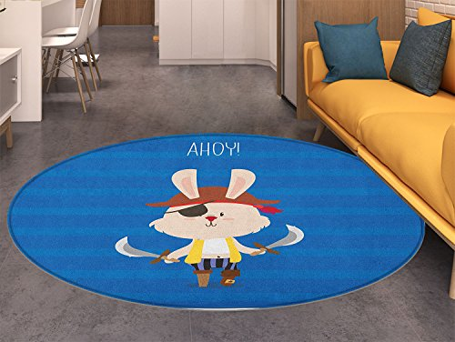 (Ahoy Its a Boy Dining Room Home Bedroom Carpet Floor Mat Pretty Pirate Rabbit Bunny with Eye Patch Funny Graphic Cartoon Illustration Non Slip rug Multicolor )