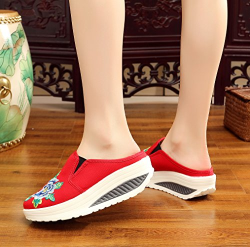 AvaCostume Womens Old Beijing Embroidery Platform Heel Casual Slip-on Loafer Shoes Red zgQSMk