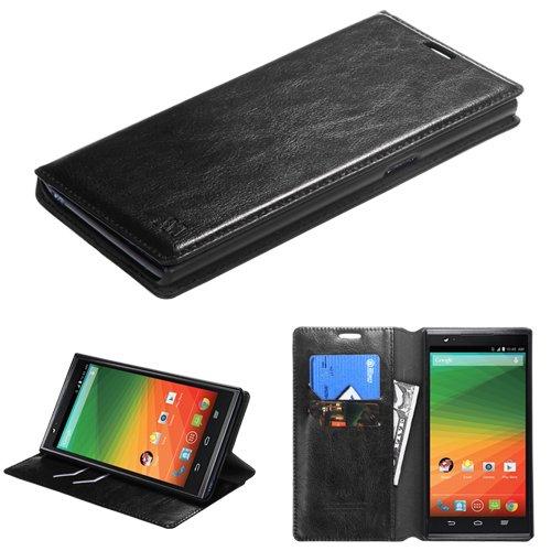 Black PU Leather ID/Wallet Case Pouch For ZTE Z970(ZMAX) MYBAT
