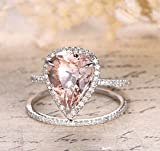 Pear Morganite Engagement Ring Bridal Set Pave Diamond Wedding 14K White Gold 10x12mm