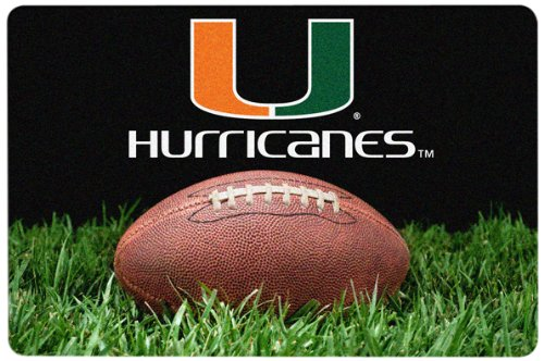 NCAA Miami Hurricanes Classic Football Pet Bowl Mat, (Miami Football Mat)