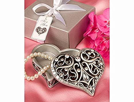 Exquisite Heart Shaped Curio Trinket Box Great Wedding Favours