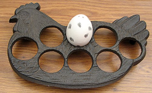Set of 2 Cast Iron Chicken Egg Holder (Cast Iron Chicken Egg Holder compare prices)