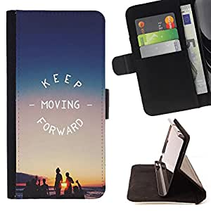 - Keep Moving Forward - - Style PU Leather Case Wallet Flip Stand Flap Closure Cover FOR HTC One M7 - Devil Case -